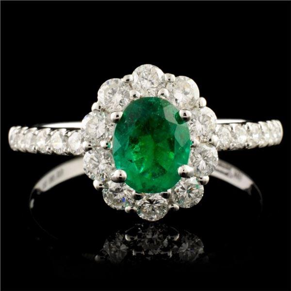18K Gold 0.55ct Emerald & 0.71ctw Diamond Ring