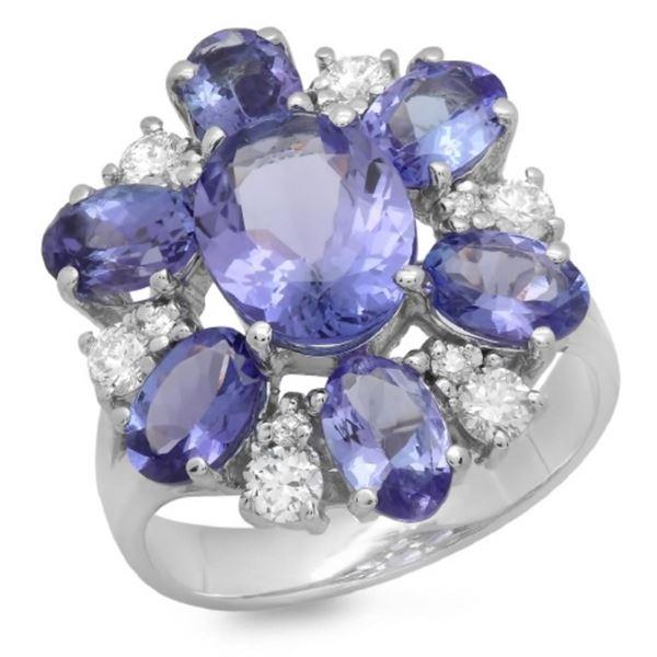 14K Gold 5.00ct Tanzanite & 0.50ct Diamond Ring