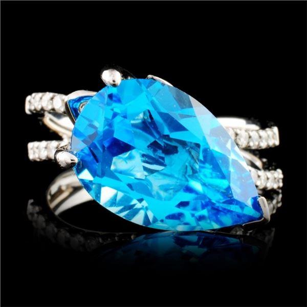 18K Gold 5.00ctw Topaz & 0.37ctw Diamond Ring