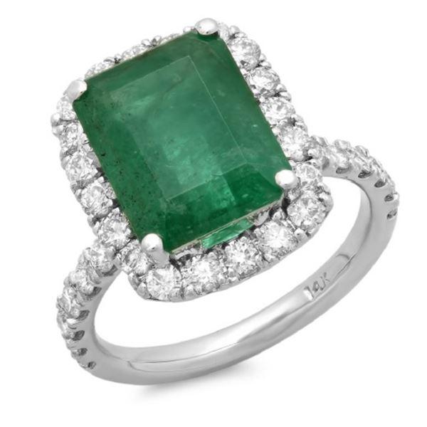 14K Gold 5.50ct Emerald & 1.20ct Diamond Ring