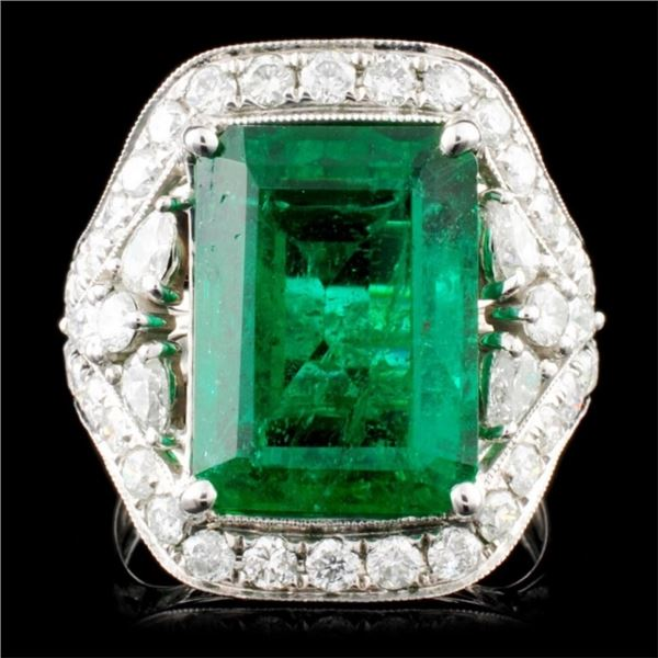 18K Gold 8.19ct Emerald & 1.68ctw Diamond Ring