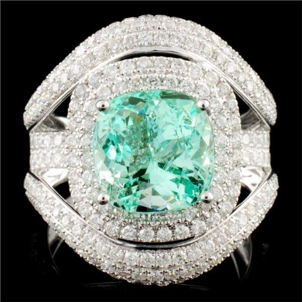18K Gold 3.87ct Emerald & 2.13ctw Diamond Ring