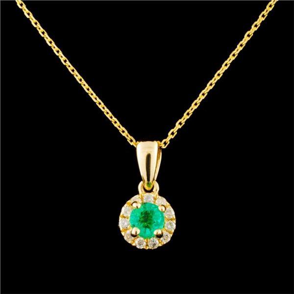 14K Gold 0.26ct Emerald & 0.09ctw Diamond Pendant