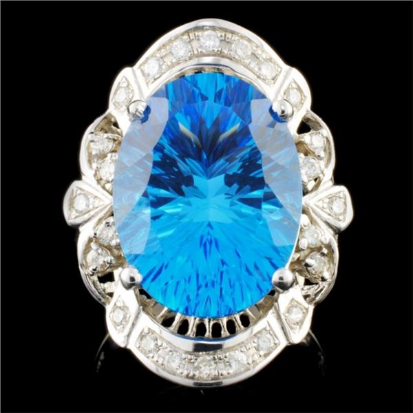 14K Gold 11.16ct Topaz & 0.30ctw Diamond Ring