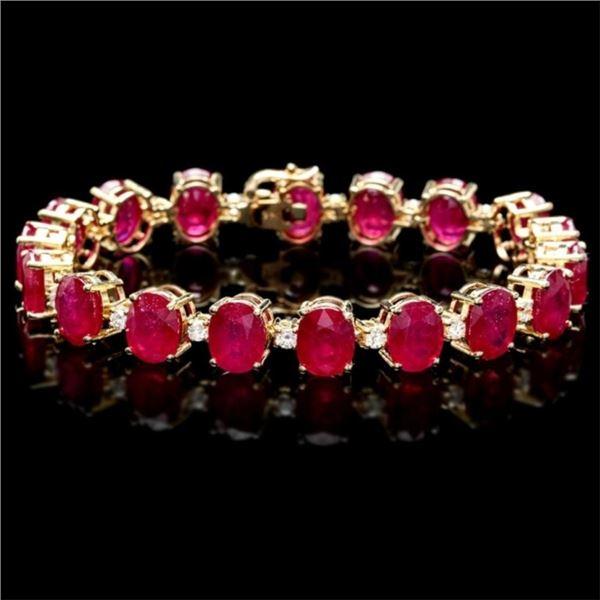 `14k Gold 45.00ct Ruby & 1.00ct Diamond Bracelet