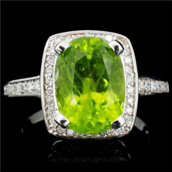 14K Gold 4.00ct Peridot & 0.75ctw Diamond Ring