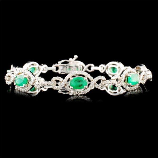 14K Gold 3.58ct Emerald & 2.71ctw Diamond Bracelet
