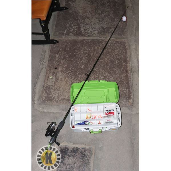 SHAKESPEARE FISHING ROD SOLD WITH TACKLE BOX AND