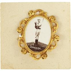 1915 PM1 Ornate Frame Pins Walter Johnson. The