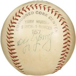 1940's Cy Young Signed Baseball