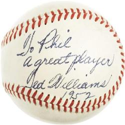 1952 Ted Williams Single Signed Baseball to Phil