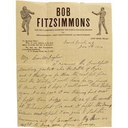 1914 Robert Fitzsimmons Handwritten Letter. Wit