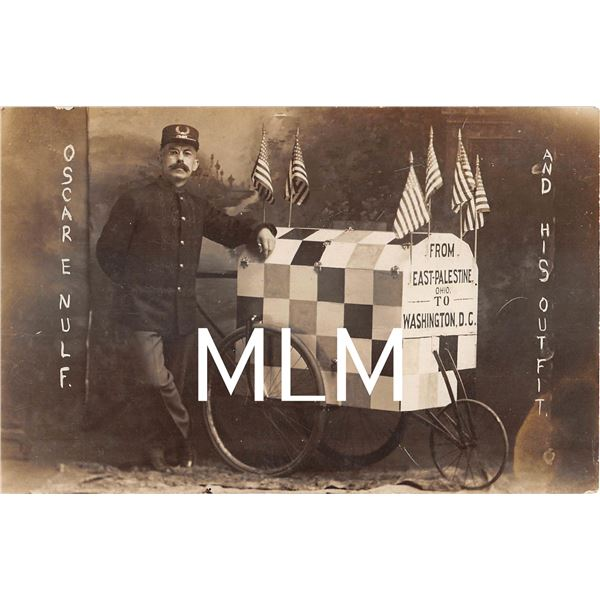 Oscar Nulf & His Outfit From East-Palestine to DC Bicycle Photo Postcard