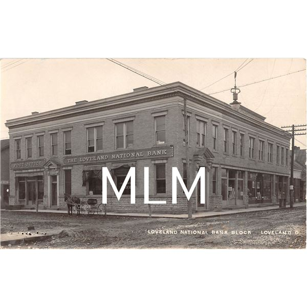 Loveland National Bank & Post Office Loveland, Ohio Photo Postcard