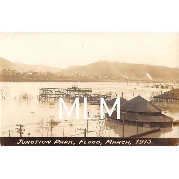 Junction Park Flood 1913 Amusement Park Rochester, PA Photo PC