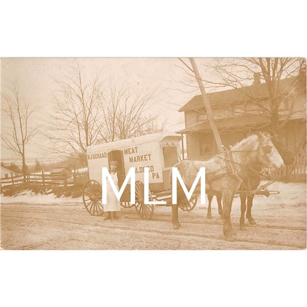 HJ Schaad Meat Market Delivery Wagon Mildred, Pennsylvania Photo Postcard