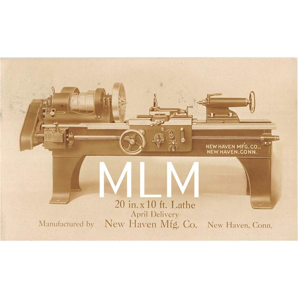 20 in. x 10 ft. Lathe Machinery Advertising New Haven, Connecticut Photo Postcard