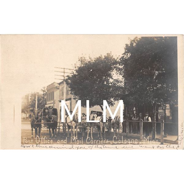 Post Office & Mail Carriers Cologne, Minnesota Photo Postcard