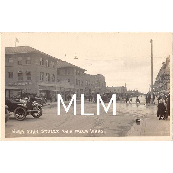 Drug Store Main Street Twin Falls, Idaho Photo Postcard