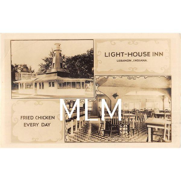 Light-house Inn Restaurant Interior/Exterior Lebanon, Indiana Photo Postcard