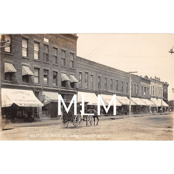 Delivery Wagon Store Fronts Main Street Chateaugay, New York Beach Photo PC