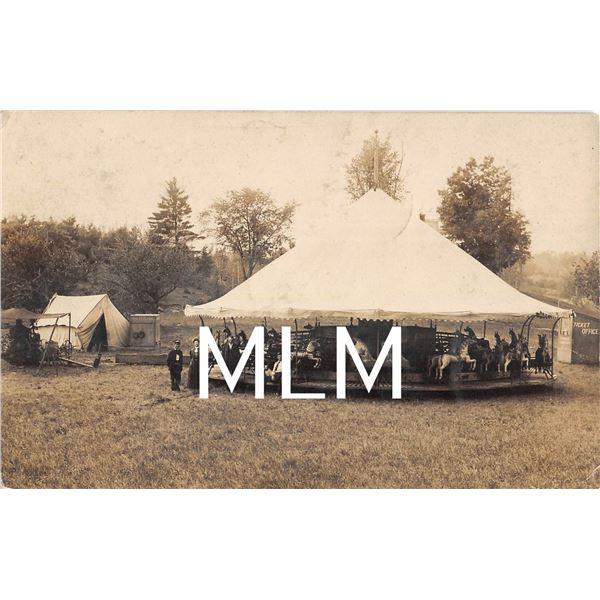 Merry Go Round Carrousel & Ticket Office Lowell, Massachusetts Photo Postcard