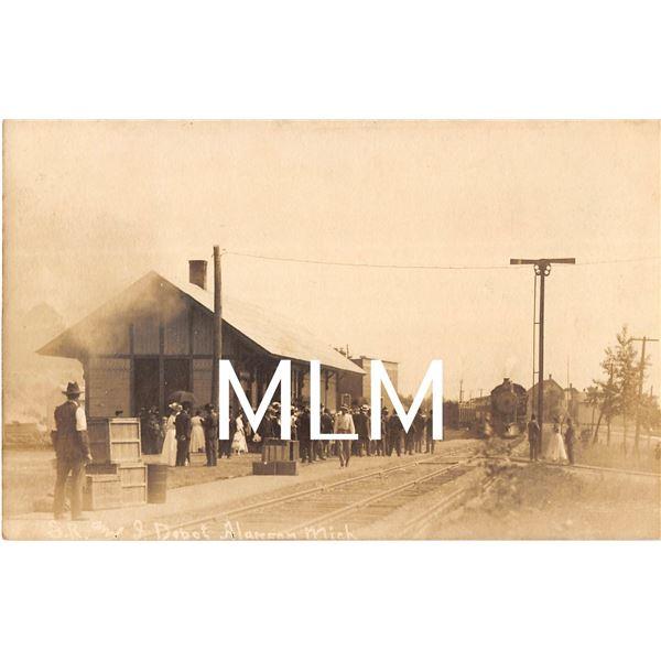 Train Station Depot Alanson, Michigan Photo Postcard