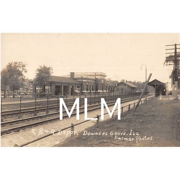 Train Station Depot Downers Grove, Illinois Photo Postcard