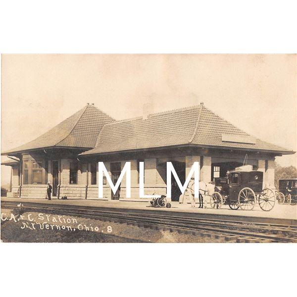 Stage Coach at Train Depot Station Mt. Vernon, Ohio Photo Postcard