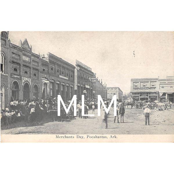 Merchants Day People In Street Pocahantas, Arkansas Postcard