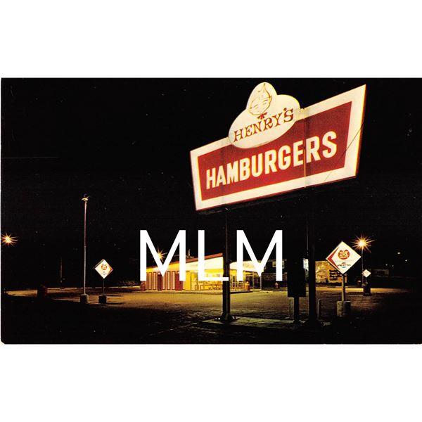 Henry's Hamburgers St. Joseph, MO/Atchison, KS Advertising Postcard
