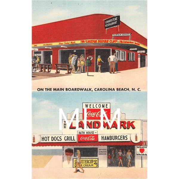 Main Boardwalk Restaurants Ice Cream Coca Cola Carolina Beach, NC Linen PC