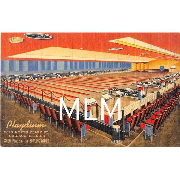 Playdium Bowling Alley Interior Chicago, Illinois Linen Postcard
