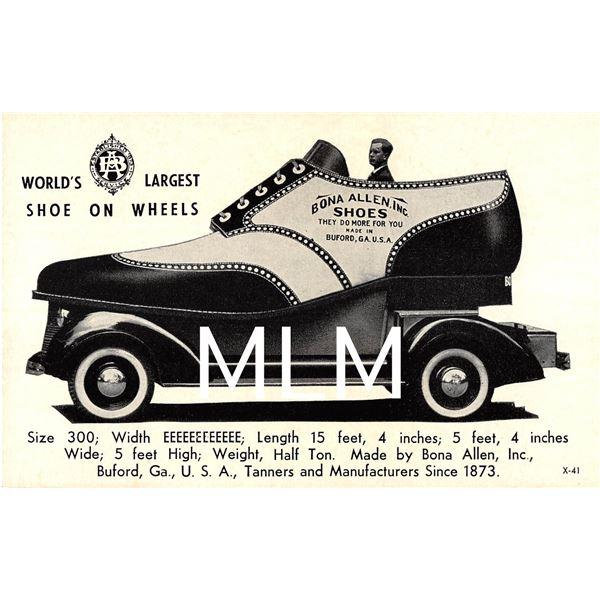 Bona Allen Inc. Shoe Car Advertising Buford, Georgia Postcard