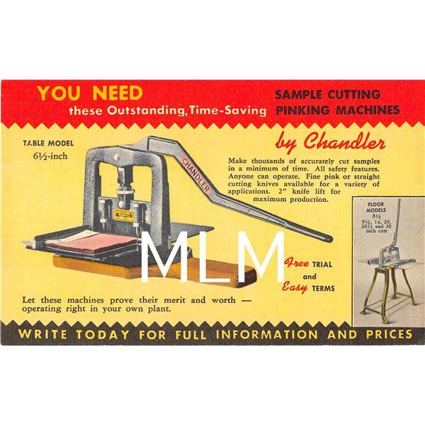 Chandler Machine Co. Linen Advertising Ayer, Massahusetts Postcard