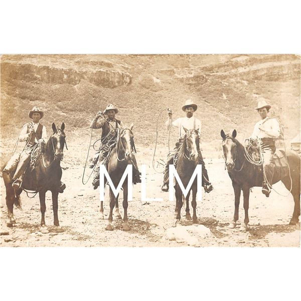 4 Cowboys on Horseback Mexican Border El, Paso Texas Photo Postcard