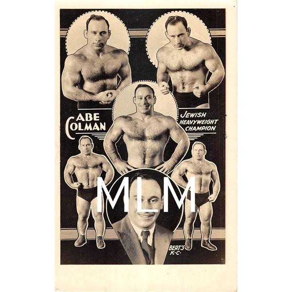 "Abe Colman Jewish Heavyweight Champion Wrestler ""Hebrew Hercules"" Photo Postcard"