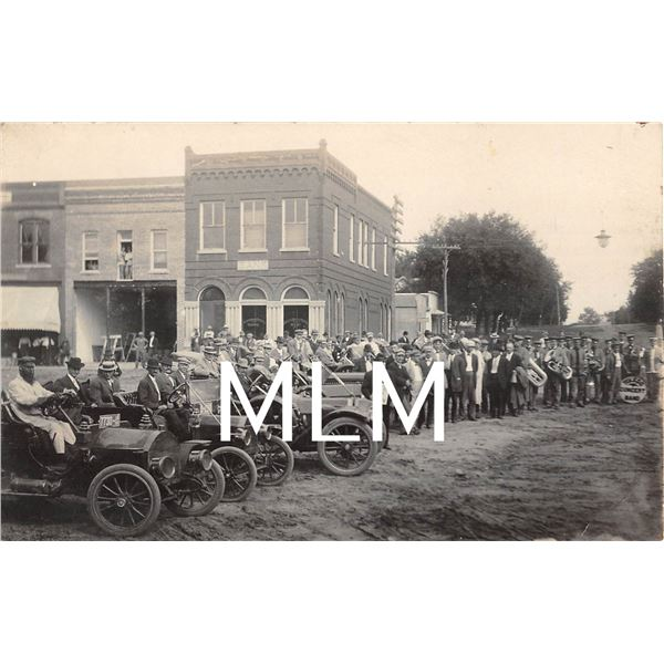 1911 Garwin Iowa Car Touring Group Toledo Concert Band Photo Postcard