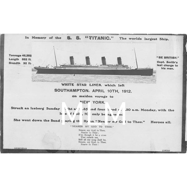 In Memory of S.S. Titanic White Star Liner  Nearer My God to Thee  Photo Postcard