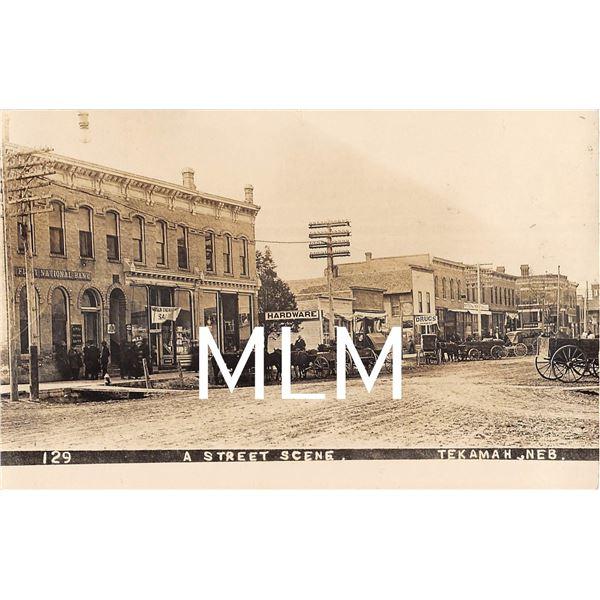 First National Bank Store Fronts Street Scene Tekamah, Nebraska Photo Postcard