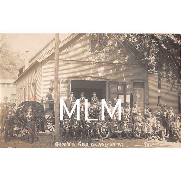 Goodwill Fire Department Co. Milton, Pennsylvania Photo Postcard