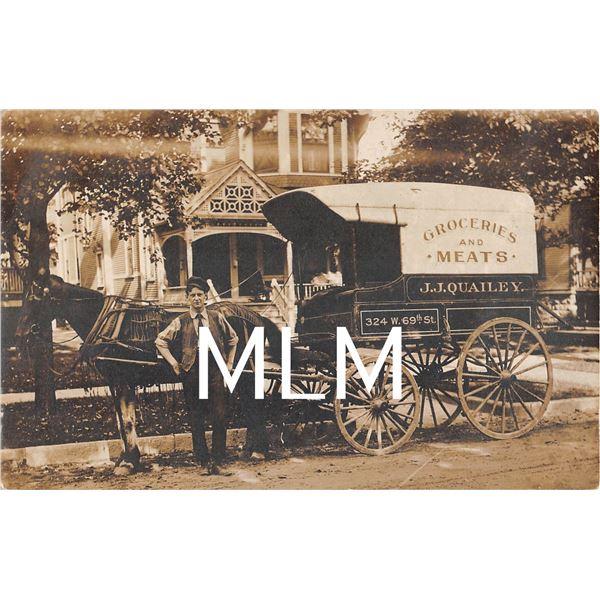 J.J. Quailey Groceries & Meats Delivery Wagon Photo Postcard