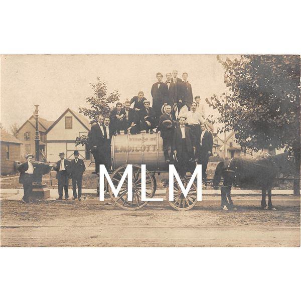 Men on Horse Drawn Water Wagon Village of Endicott Photo Postcard