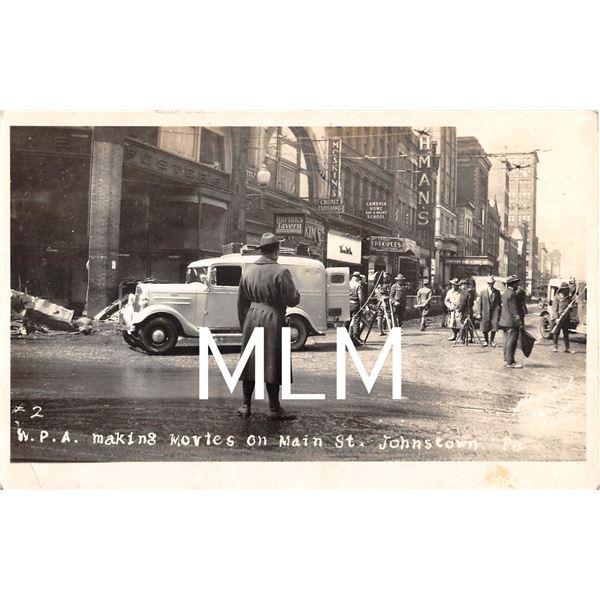 W.P.A. Making Movies on Main St. Johnstown, Pennsylvania Photo Postcard