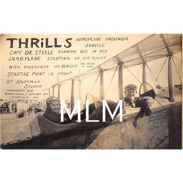 Thrills Aeroplane Canadian Ace Capt. Steele Wildwood, New JerseyPhoto Postcard