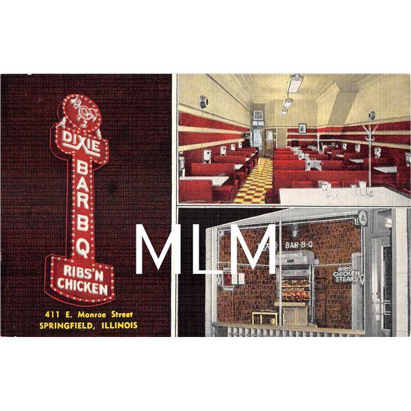 Dixie Bar-B-Q Ribs'n Chicken Restaurant Springfield, Illinois Linen Postcard