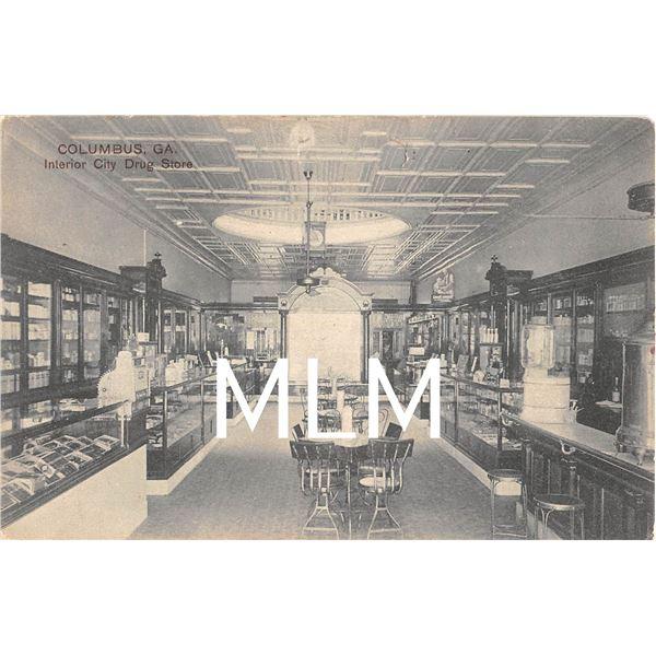 Interior City Drug Store Columbus, Georgia Postcard