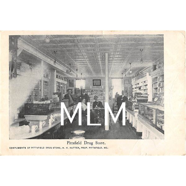 Drug Store Interior Selling Athletic Goods Sign Pittsfield, Maine Postcard