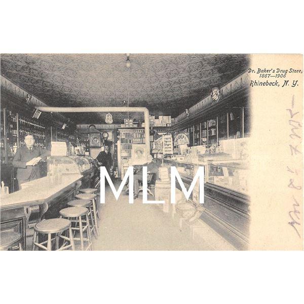 Dr. Baker's Drug Store Interior Rhinebeck, New York Postcard