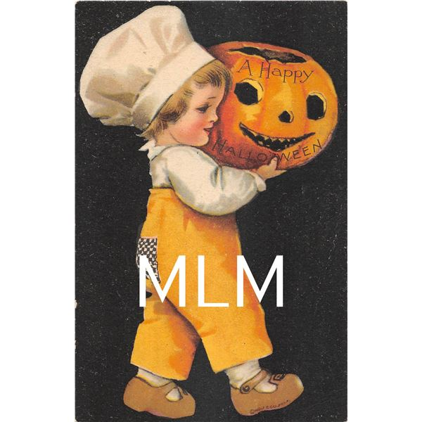 2 Wolf Clapsaddle Black Background Halloween Children Postcards